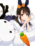 1girl amagai_tarou animal animal_ears animal_on_back arm_support ass bow bowtie brown_hair bunny bunny_ears carrot closed_mouth collarbone collared_shirt commentary_request doll eyebrows_visible_through_hair fake_animal_ears hair_bow highres legs_up long_hair looking_at_viewer low_twintails lying no_shoes on_stomach original pantyhose pleated_skirt red_eyes school_uniform shirt skirt sleeves_rolled_up solo tail twintails twitter_username wing_collar