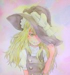 1girl acrylic_paint_(medium) blonde_hair bust gradient gradient_background graphite_(medium) hand_on_headwear hat hat_over_one_eye hat_ribbon hat_tug high_collar highres kirisame_marisa light_frown long_hair looking_at_viewer ribbon short_sleeves solo touhou traditional_media vest watercolor_(medium) witch_hat yuyu_(00365676)