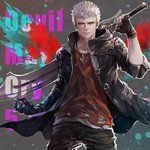 1boy black_gloves blue_coat blue_eyes bracelet closed_mouth coat collarbone devil_may_cry devil_may_cry_5 english_text fingerless_gloves gloves highres holding holding_sword holding_weapon jewelry male_focus mechanical_arm necklace nero_(devil_may_cry) paint_splatter red_shirt senano-yu shirt sleeves_rolled_up smile solo sword torn_clothes weapon white_hair zipper