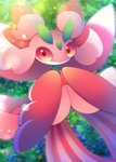 antennae black_eyes blurry bug butterfly gen_7_pokemon green_background highres insect looking_at_viewer lurantis muuran no_humans no_mouth orchid_mantis pokemon pokemon_(creature) praying_mantis red_sclera signature solo standing striped vertical_stripes