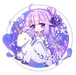 1girl ahoge akiya_doubao alicorn animal azur_lane bangs black_ribbon blush character_name chibi closed_mouth commentary detached_sleeves dress eyebrows_visible_through_hair hair_bun hair_ribbon head_tilt long_hair long_sleeves looking_at_viewer lowres one_side_up purple_eyes purple_hair ribbon side_bun sleeveless sleeveless_dress smile solo sparkle symbol_commentary unicorn_(azur_lane) very_long_hair white_dress