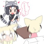 2girls :d :i alternate_costume animal_ears apron back_bow bangs blonde_hair blur blush bow bowtie chibi chibi_inset closed_mouth common_raccoon_(kemono_friends) dress enmaided eyebrows_visible_through_hair fang fennec_(kemono_friends) fox_ears full-face_blush gloves grey_hair hair_between_eyes hair_bow hair_tie heart heart_hands highres kemono_friends maid maid_apron maid_headdress makuran moe_moe_kyun! multicolored_hair multiple_girls open_mouth raccoon_ears raccoon_tail short_hair sitting smile speech_bubble tail translated white_hair