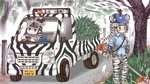 2girls adapted_costume animal_ears animal_print black_gloves black_hair blue_shirt breast_poke brown_eyes collared_shirt commentary driving eighth_note extra_ears gloves goggles grevy's_zebra_(kemono_friends) grey_shirt ground_vehicle hat kemono_friends license_plate long_hair long_sleeves mojibake_commentary motor_vehicle multicolored_hair multiple_girls musical_note necktie outdoors plains_zebra_(kemono_friends) poking shirt short_over_long_sleeves short_sleeves steering_wheel tail tanaka_kusao tree truck two-tone_hair weeds white_hair zebra_ears zebra_print zebra_tail