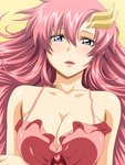 1girl blue_eyes breasts cleavage gundam gundam_seed gundam_seed_destiny hair_ornament highres kh-fullhouse lacus_clyne large_breasts lingerie lips long_hair looking_at_viewer lying negligee official_style on_back parted_lips pink_hair solo underwear upper_body