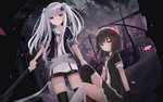 2girls arm_support asymmetrical_legwear black_gloves black_hair black_legwear black_shirt black_skirt bow cloud eyebrows_visible_through_hair floating_hair frilled_skirt frills gloves hair_bow hair_ribbon highres holding holding_weapon long_hair looking_at_viewer miniskirt multiple_girls necktie night original outdoors petals pink_eyes red_bow red_eyes red_neckwear ribbon scythe shirt short_hair short_sleeves side_ponytail silver_hair sitting skirt standing thigh_strap thighhighs touhourh twintails very_long_hair weapon white_ribbon