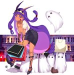 1girl absurdres animal_ears bag blush breasts cleavage contemporary dark_skin earrings facepaint facial_mark fate/grand_order fate_(series) high_heels highres holding jackal_ears jewelry large_breasts long_hair looking_at_viewer medjed necklace nitocris_(fate/grand_order) pencil_skirt polka_dot purple_eyes purple_hair shopping_bag sidelocks skirt smile solo yuruto