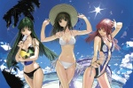 3girls ariel_org arms_up beach bikini bikini_top breasts brown_hair cleavage cloud crossover day green_eyes green_hair hand_on_headwear large_breasts long_hair medium_breasts multiple_girls nakabayashi_reimei navel one-piece_swimsuit one_eye_closed ouka_nagisa outdoors pink_hair pinky_out real_robot_regiment setsuko_ohara side-tie_bikini sky super_robot_wars super_robot_wars_original_generation super_robot_wars_z swimsuit yellow_eyes