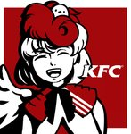 1girl bird black_neckwear chick chick_on_head closed_eyes dress eyebrows_visible_through_hair facing_viewer kfc laughing logo_parody mefomefo niwatari_kutaka nose open_mouth parody red_background red_hair short_hair solo tongue touhou two-tone_background upper_body upper_teeth wings