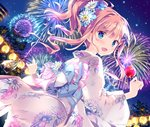 1girl :d aerial_fireworks animal bag bagged_fish blue_bow blue_eyes blue_flower blue_rose blush bow candy_apple dutch_angle fireworks fish floral_print flower food from_behind goldfish hair_bow hair_flower hair_ornament highres holding holding_food japanese_clothes kimishima_ao kimono lantern light_brown_hair looking_at_viewer looking_back night night_sky obi open_mouth original outdoors paper_lantern pink_bow print_kimono rose saijo_melia sash side_ponytail sidelocks sky smile solo striped striped_bow summer_festival tree water white_flower white_kimono