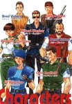 albert_wesker artist_request bare_arms barry_burton beard belt beret brad_vickers brown_hair choker chris_redfield cigarette earrings facial_hair fingerless_gloves gloves group_shot gun hat headband jewelry jill_valentine joseph_frost katakana official_art rebecca_chambers resident_evil short_hair shotgun shoulder_pads sunglasses tagme weapon