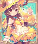 1girl absurdres arm_up bangs bare_shoulders blush bow breasts brown_hair brown_legwear butterfly_hat_ornament cleavage cleavage_cutout closed_mouth commentary_request detached_sleeves dress eyebrows_visible_through_hair fingernails flower hair_between_eyes hat hat_ornament highres ikari_(aor3507) long_hair long_sleeves looking_at_viewer nail_polish orange_bow orange_flower orange_rose original pantyhose picture_frame red_eyes rose sleeveless sleeveless_dress small_breasts solo very_long_hair yellow_dress yellow_flower yellow_headwear yellow_nails yellow_rose yellow_sleeves