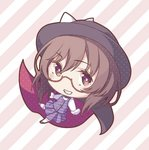 1girl black_hat bow brown-framed_eyewear brown_eyes brown_footwear brown_hair chibi commentary_request diagonal-striped_background diagonal_stripes eyebrows_visible_through_hair eyelashes fedora full_body glasses gloves grin hat hat_bow legs_apart long_sleeves looking_at_viewer lowres midorino_eni outstretched_arms plaid plaid_skirt plaid_vest pleated_skirt polka_dot purple_skirt purple_vest school_uniform semi-rimless_eyewear shirt short_hair skirt smile solo spread_arms striped striped_background touhou usami_sumireko vest white_bow white_gloves white_legwear white_shirt