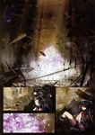 1girl absurdres alphonse_(white_datura) bikini_top black_hair black_rock_shooter black_rock_shooter_(character) blue_eyes boots chain cherry_blossoms comic front-tie_top gloves highres long_hair midriff scan scar short_shorts shorts silent_comic solo tree twintails