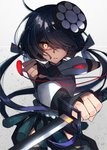 0wsaa0 1girl black_hair bridal_gauntlets eyepatch eyepatch_removed fate/grand_order fate_(series) glowing glowing_eye hair_over_one_eye highres katana low_twintails mochizuki_chiyome_(fate/grand_order) red_eyes reverse_grip rope shimenawa sword twintails weapon