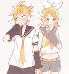 1boy 1girl blonde_hair blush embarrassed hair_ornament hair_ribbon holding_hands incest kagamine_len kagamine_rin looking_away navel ribbon ryou_(fallxalice) siblings sweat twincest twins vocaloid