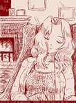 1girl abazu-red alternate_costume closed_eyes dated fire fireplace girls_und_panzer hair_intakes jacket kay_(girls_und_panzer) long_hair monochrome picture_frame red sleeping solo sweater tegaki tegaki_draw_and_tweet twitter_username