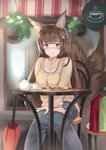 1girl absurdres amagi_(azur_lane) animal_ears awning azur_lane bag bangs blue_eyes blue_pants blurry blush breasts brown_hair brown_shirt cafe casual chair checkerboard_cookie cleavage closed_umbrella commentary contemporary cookie cup depth_of_field eyebrows_visible_through_hair feet_out_of_frame food fox_ears fox_tail hair_ornament hands_on_lap hanging_plant highres jewelry knees_together_feet_apart light_smile looking_at_viewer medium_breasts multiple_tails necklace pants plant plate potted_plant red_umbrella saucer shirt shirt_under_shirt shopping_bag sitting solo storefront sylux table tail teacup teapot thick_eyebrows umbrella window