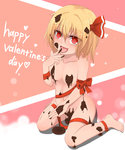 1girl barefoot blonde_hair blush breasts chocolate convenient_censoring hair_ribbon highres ichinen_konto long_hair naked_chocolate navel nude open_mouth red_eyes ribbon rumia short_hair smile solo touhou valentine