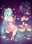 1girl adjusting_eyewear aqua_eyes aqua_hair bad_id bad_pixiv_id bunny chair cup dress emurina envelope glasses hatsune_miku high_heels highres letter long_hair looking_at_viewer postmark shoes sitting solo star table teacup teapot twintails very_long_hair vocaloid