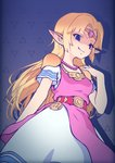 1girl blonde_hair blue_eyes breasts commentary dark_persona dress fang highres jewelry long_hair looking_at_viewer ougushi_takaaki pointy_ears princess_zelda smile solo the_legend_of_zelda