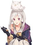 1girl bird blush cape dark_persona eating feh_(fire_emblem_heroes) female_my_unit_(fire_emblem:_kakusei) fire_emblem fire_emblem:_kakusei fire_emblem_heroes food gimurei gloves hood ichikei long_hair looking_at_viewer my_unit_(fire_emblem:_kakusei) open_mouth pudding red_eyes robe simple_background smile solo twintails white_hair