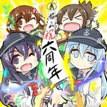 4girls >_< akatsuki_(kantai_collection) anchor_symbol anniversary badge banner black_sailor_collar blue_eyes brown_hair commentary_request copyright_name flat_cap folded_ponytail hair_between_eyes hair_ornament hairclip hat hibiki_(kantai_collection) ikazuchi_(kantai_collection) inazuma_(kantai_collection) kantai_collection long_hair long_sleeves looking_at_viewer multiple_girls neckerchief nyonyonba_tarou one_eye_closed open_mouth party_popper purple_eyes purple_hair red_neckwear sailor_collar school_uniform serafuku shirt short_hair silver_hair smile upper_body white_shirt
