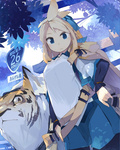 1girl akitsu_taira animal belt blonde_hair blue_eyes cat izumi_luna_(akitsu_taira) original sign solo tree
