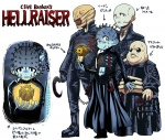 4boys bald belt blue_skin butterball chatterer female_cenobite hellraiser lament_configuration long_sleeves looking_at_viewer malro_jr._bonner matsuda_yuusuke monster multiple_boys pinhead simple_background smile spikes sunglasses translated undead white_background zombie