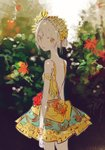 1girl arms_at_sides bare_back blurry blurry_background bush closed_mouth cowboy_shot dress expressionless flower from_behind leaf looking_back original outdoors red_flower short_hair sketch solo standing sumi_(pixiv619693) white_hair yellow_dress