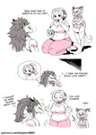 alternate_hairstyle comic dragon_boy dragon_girl dragon_horns dragon_tail family father_and_daughter highres horns limited_palette mother_and_daughter original shepherd0821 size_difference tail thick_eyebrows thick_thighs thighs translated