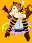 1girl :d >:d bat_wings brown_hair frills halloween horns idolmaster kneehighs minase_iori open_mouth red_eyes smile solo striped striped_legwear wings