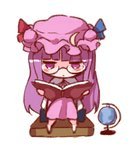 1girl bangs barefoot bespectacled blue_ribbon blunt_bangs book chibi commentary_request crescent crescent_hair_ornament dress full_body glasses globe hair_ornament hat hat_ribbon holding holding_book jitome long_hair lowres mob_cap patchouli_knowledge purple_dress purple_eyes purple_hair purple_headwear red_ribbon ribbon simple_background sitting snozaki solo touhou very_long_hair white_background