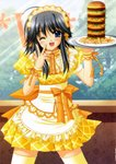 1girl ;d absurdres ahoge apron back_bow bangs blue_eyes blue_sky blush bow breasts contrapposto day dot_nose dress dress_bow eyebrows_visible_through_hair eyelashes eyes_visible_through_hair fingernails food french_fries frilled_apron frilled_shirt_collar frills grey_hair hair_between_eyes hamburger hands_up head_tilt headdress high_collar highres holding holding_tray indoors large_bow legs_apart long_hair looking_at_viewer mayumi_thyme megamac neck_ribbon nishimata_aoi official_art one_eye_closed open_mouth orange_bow orange_ribbon puffy_short_sleeves puffy_sleeves ribbon scan shiny shiny_hair short_dress short_sleeves shuffle! sidelocks sky small_breasts smile solo standing thighhighs tray tree w waist_apron waitress window wrist_cuffs yellow_apron yellow_dress yellow_legwear zettai_ryouiki