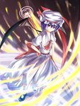 1girl ascot bat_wings blue_hair bow hand_on_hip hat hat_bow red_eyes remilia_scarlet solo spear_the_gungnir touhou waterdog wind wings