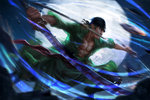 1boy 2014 abs bandana battle full_moon green_hair katana male moon motion_blur mouth_hold one_piece richy_truong roronoa_zoro sash scar short_hair signature solo sparks speed_lines stitches sword triple_wielding watermark weapon web_address