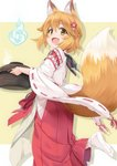1girl :d animal_ear_fluff animal_ears apron bangs blue_fire blush brown_apron brown_background brown_eyes brown_hair commentary_request eyebrows_visible_through_hair fang fire flower fox_ears fox_girl fox_tail hair_between_eyes hair_flower hair_ornament hakama hitodama holding holding_pot japanese_clothes kimono long_sleeves miko miri_(ago550421) no_shoes open_mouth pot red_flower red_hakama ribbon-trimmed_sleeves ribbon_trim senko_(sewayaki_kitsune_no_senko-san) sewayaki_kitsune_no_senko-san smile socks soles solo standing standing_on_one_leg tabi tail tail_raised two-tone_background white_background white_kimono white_legwear wide_sleeves