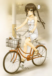 1girl bag bangs bare_arms bare_legs bare_shoulders bicycle bicycle_basket blurry blurry_background blush bottle brown_eyes brown_footwear brown_hair bug closed_mouth collarbone day depth_of_field dragonfly dress eighth_note eyebrows_visible_through_hair flat_chest full_body ground_vehicle highres insect k-on! long_hair men'youjan musical_note nakano_azusa nose_blush outdoors pole print_dress riding road sandals sepia shiny shiny_hair shopping_bag sidelocks sitting sleeveless sleeveless_dress smile solo speech_bubble speed_lines spoken_musical_note street sundress twintails white_dress