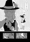 2girls arm_warmers braid comic dress greyscale hat japanese_clothes kirisame_marisa long_hair mizuhashi_parsee monochrome multiple_girls pointy_ears rain sabakan_(iizuka48) scarf short_hair short_sleeves single_braid skirt touhou translated witch_hat
