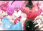 2girls :d animal_ears cat_ears flower frilled_sleeves frills hand_on_another's_cheek hand_on_another's_face heart heart_eyes kaenbyou_rin komeiji_satori multiple_girls open_mouth petals pink_eyes pink_hair red_eyes red_hair shirokuro_ha short_hair smile third_eye touhou wide_sleeves yuri