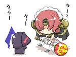 1boy 1girl armor armored_boots berserker_(fate/zero) berserker_of_black boots breasts candy chibi comic commentary_request dress fate/apocrypha fate/zero fate_(series) feathers food full_armor gloves glowing glowing_eyes gomasamune headgear helmet hidden_eyes highres holding holding_food holding_lollipop lollipop medium_breasts open_mouth oversized_object pink_hair shadow sleeveless sleeveless_dress translation_request white_background white_dress