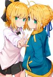 2girls ahoge artoria_pendragon_(all) bangs black_bow black_cola black_neckwear black_skirt blonde_hair blue_jacket blue_ribbon blush bow bowtie braid brown_jacket character_request closed_mouth collared_shirt commentary eyebrows_visible_through_hair fate/grand_order fate_(series) green_eyes hair_between_eyes hair_bow hair_bun hair_ribbon hands_in_pockets high_ponytail highres jacket multiple_girls open_clothes open_jacket outstretched_arm pleated_skirt ponytail ribbon saber saber_lily shirt simple_background skirt sleeveless_jacket smile track_jacket v white_background white_shirt