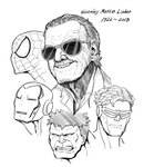 5boys commentary creator_connection cyclops_(x-men) greyscale hair_slicked_back hulk iron_man iron_man_(comics) mask monochrome multiple_boys parallax05 smile spider-man spider-man_(series) stan_lee sunglasses upper_body x-men