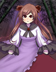 1girl :o animal_ears bamboo bamboo_forest brown_eyes brown_hair dress forest frilled_sleeves frills imaizumi_kagerou long_hair long_sleeves nature puchiyuyoyo touhou wide_sleeves wolf_ears