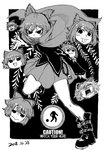 1girl :3 belt_boots black_background black_eyes black_footwear black_shirt blackcat_(pixiv) boots bow cape chain covered_mouth dated disembodied_head dot_nose english_text floating_head grass_root_youkai_network greyscale hair_between_eyes hair_bow headless long_sleeves looking_at_viewer meme miniskirt monochrome open_mouth sekibanki shirt short_hair skirt surprised tongue tongue_out touhou v-shaped_eyebrows yao_ming yukkuri_shiteitte_ne