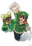 1girl arm_up black_eyes blush blush_stickers brown_hair coat frog from_above full_body gloves green_coat hair_between_eyes hat holding holding_microphone microphone midorikawa_kero netnavi occultgarage53 open_mouth pinky_out rockman rockman_exe short_hair simple_background smile toadman.exe white_background white_gloves