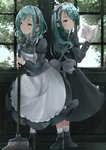 2girls absurdres apron aqua_hair bang_dream! black_dress black_footwear blush broom cleaning_windows commentary_request dress eyebrows_visible_through_hair full_body green_eyes highres hikawa_hina hikawa_sayo indoors long_hair maid maid_dress maid_headdress matching_outfit medium_hair multiple_girls platform_boots rag siblings sisters smile striped striped_legwear tomura2maru tree twins white_apron window