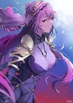1girl artist_name bangs blush bodysuit breasts circlet commentary covered_navel damda eyebrows_visible_through_hair fate/grand_order fate_(series) hair_between_eyes large_breasts long_hair looking_at_viewer pauldrons purple_bodysuit purple_hair red_eyes ruby_(gemstone) scathach_(fate)_(all) scathach_(fate/grand_order) solo taut_bodysuit very_long_hair
