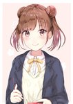 1girl :q bangs black_jacket blazer blush brown_eyes brown_hair closed_mouth collared_shirt commentary_request double_bun dress_shirt eyebrows_visible_through_hair food holding holding_food houraku idolmaster idolmaster_shiny_colors jacket long_hair looking_at_viewer open_blazer open_clothes open_jacket pocky shirt side_bun smile solo sonoda_chiyoko sweater tongue tongue_out twintails white_shirt