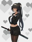 1girl alternate_costume azur_lane bad_id bad_pixiv_id black_hair black_serafuku black_skirt blush bow breasts brown_eyes collarbone cowboy_shot grey_background hair_bow hand_on_own_chest hayabusa heart highres holding holding_sword holding_weapon katana large_breasts long_hair long_sleeves looking_at_viewer midriff pantyhose pixelated pleated_skirt sailor_collar school_uniform serafuku sheath skirt solo standing sword takao_(azur_lane) uniform very_long_hair weapon white_headband