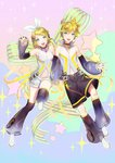 1boy 1girl :d bangs bass_clef blonde_hair blue_eyes bow brother_and_sister collar commentary_request detached_sleeves eyebrows_visible_through_hair floating hair_bow hair_ornament hair_ribbon hairclip headphones high_collar holding_hands kagamine_len kagamine_rin leg_up looking_at_viewer naoko_(naonocoto) navel navel_cutout necktie neon_trim open_mouth ribbon see-through short_hair shorts siblings sleeveless smile sparkle sparkle_background star swept_bangs treble_clef twins vocaloid waving white_shorts